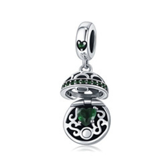 7ff427c71351 Authentic 925 Sterling Silver Love Gift Box Dangle Ball Charm Pendant fit  Women Charm Bracelet & Necklaces Jewelry SCC689