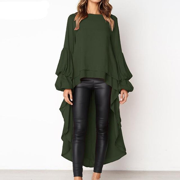 Ruffles Long Sleeve Blouse Women Autumn Casual Lantern Sleeve Solid Shirt Ladies Tops and Blouse Chiffon