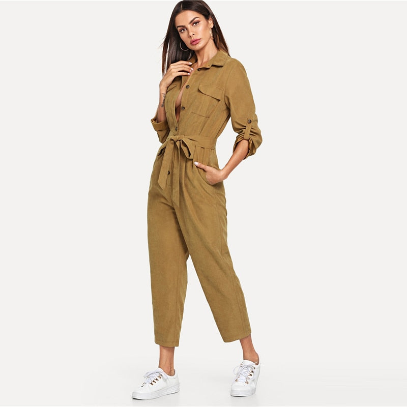 37039367ccb4 JOHNKART.COM.  42.12 USD. Elegant Jumpsuit Roll Tab Sleeve Button Front  Self Belted Jumpsuit Women Clothes Mid Waist Autumn Jumpsuits ...