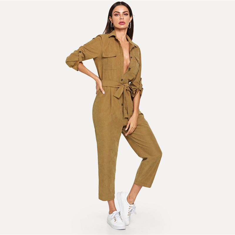 5f2dbed027d5 ... Elegant Jumpsuit Roll Tab Sleeve Button Front Self Belted Jumpsuit  Women Clothes Mid Waist Autumn Jumpsuits ...