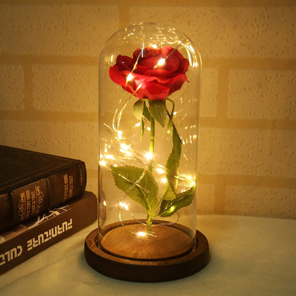 Beauty and the Beast Red Rose in a Glass Dome on a Wooden Base for Valentine's Gifts LED Rose Lamps Christmas