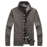New Men's Solid Color Sweater Coat Male Autumn Winter Thick Sweater coat Outerwear Slim Fit  Wool Fleece Sweaters Jacket 3XL