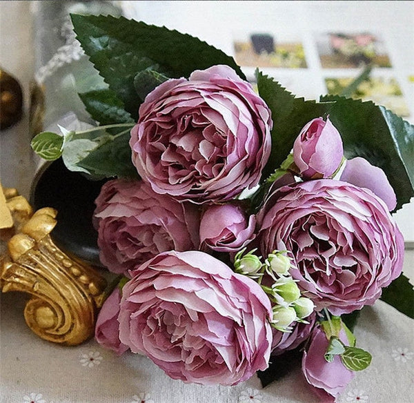 2018 Silk Rose Peony Artificial Flowers Beautiful Flores Bouquet for Wedding Party Home Decoration Mariage Fake Flowers A49B25