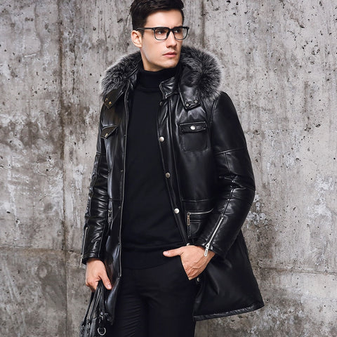 Winter New Zipper Pockets Mens Slim Fit Long Coats Male Hooded Sheepskin Genuine Leather Warm Overcoats Fur Collar Large Size