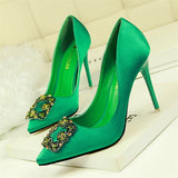 Women Pumps Elegant Rhinestone Silk Satin High Heels Shoes Crystal Metal Square Buckle Party Shoes Women Wedding Shoes