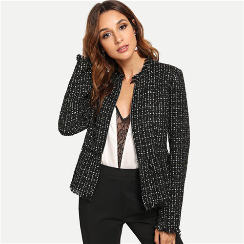 Black Autumn Jacket Women Zip Up Hem Peplum Tweed Coat Casual Ladies Outerwear 2018 Clothes Womens Jackets And Coats