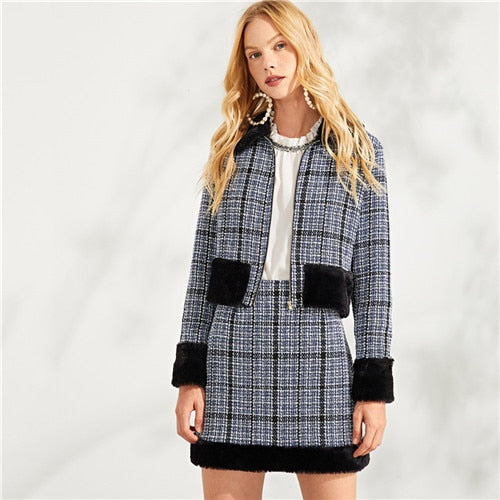 Zip Front Plaid Elegant Faux Fur Coat & Skirt Set Two Piece Set Autumn Women Clothes Set Sexy Female Office Suit