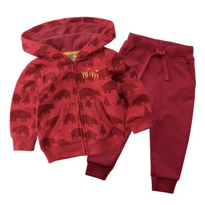 Autumn And Winter baby  Boys Two Pieces Suit New fashion  Warm Out Wear Long Coat Novelty Print animal  Hooded dress