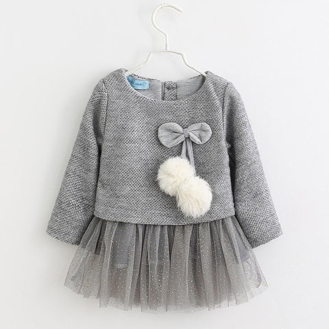 Baby Girl Dress New Casual Autumn Baby Clothes Long Sleeve Plaid Bear Straps Fake Two Piece Dress baby girl clothes
