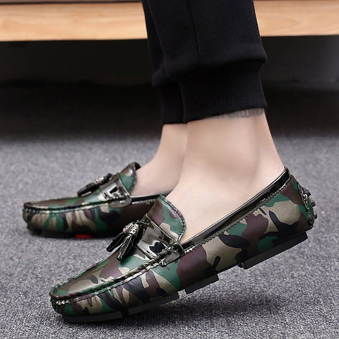 Men Tassel Loafers Slip on Shoes Camouflage Flat Shoes Men Autumn Designer Fashion Shoes Outside Footwear Brand
