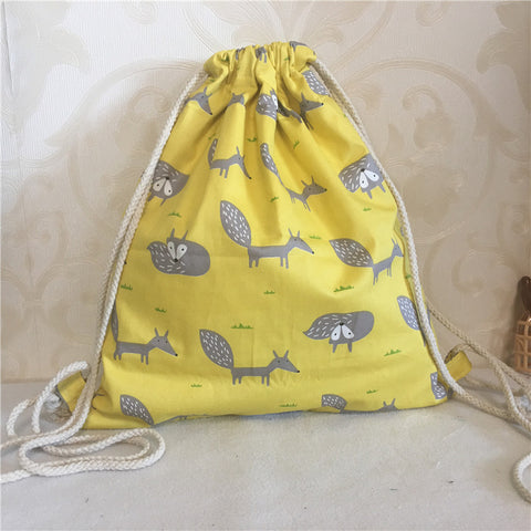 Cotton Twill Drawstring Eco Backpack Cute Grey Fox Yellow Base Shoes Book Bag 8601-b