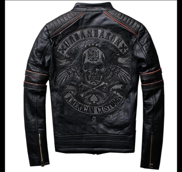 Free shipping.mens skull genuine leather Jackets,men's biker jacket.plus size.homme motor coat.sales.gift,fashion