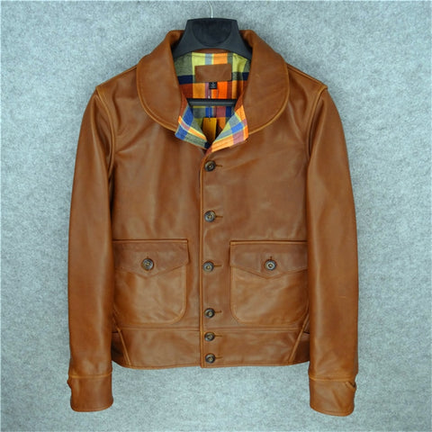 men's genuine cow leather cossack jacket motorcycle slim vintage genuine cowhide leather rider jacket