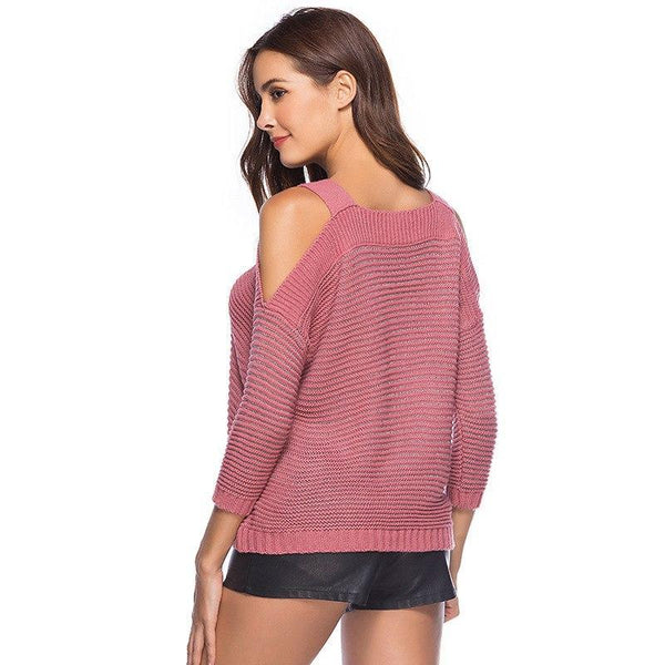 Spring Autumn Women Knitted Sexy Sweaters Slash Neck Strap Pullovers Female Knitting Jumpers Fashion Outerwear