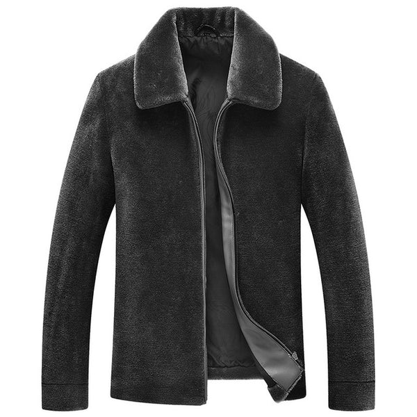 Natural Sheep Shearling Fur Coat Winter Jacket Men 100% Wool Fur Warm Coat Plus Size Coats Men's Short Jackets MY756