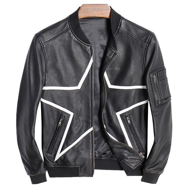 New Men Genuine Leather Jacket Stand Collar Zipper Pockets Baseball Uniform Slim Fit Plus Size 5XL Real Sheepskin Coat