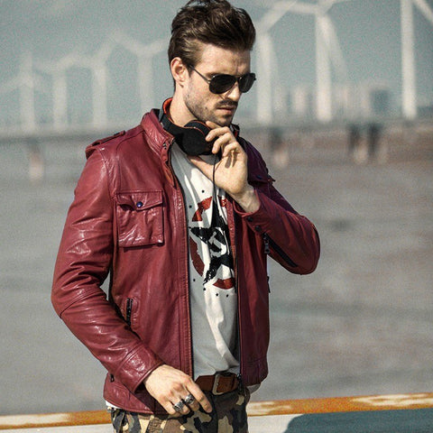Motorcycle leather jacket men vegetable-tanned Genuine leather coats black/red Luxury quality S1415
