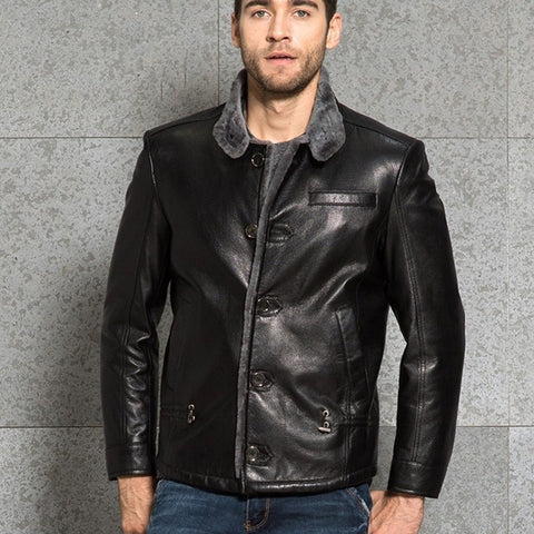 Italy Winter Runway Genuine Leather Mens Jacket Wool Fur Lining Punk Jaqueta De Couro Slim Fit Single Breasted Motorcycle Coats