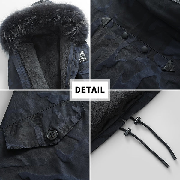 Real Fur Coat Men Natural Rex Rabbit Fur Liner Camouflage Winter Jacket Raccoon Fur Collar Long Parka Plus Size KJ844