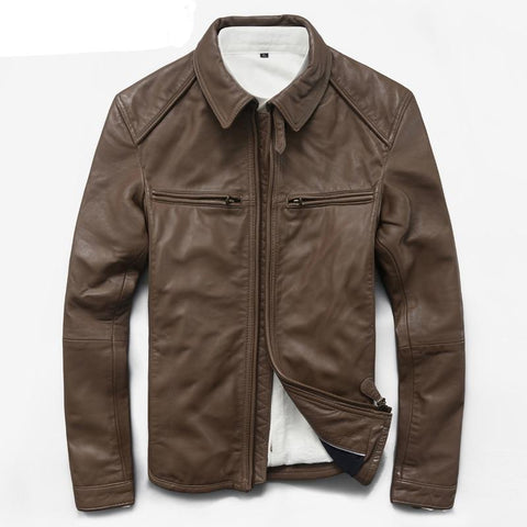 Men's Genuine Leather New Autumn Leather Jacket  Coat for Men Motorcycle Short Korean Jackets Male KJ852