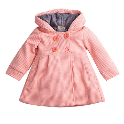 Fashion % Cotton New Baby Toddler Girl Clothing Autumn Winter Horn Button Hooded Coat Outerwear Jacket Girls 6M-3T