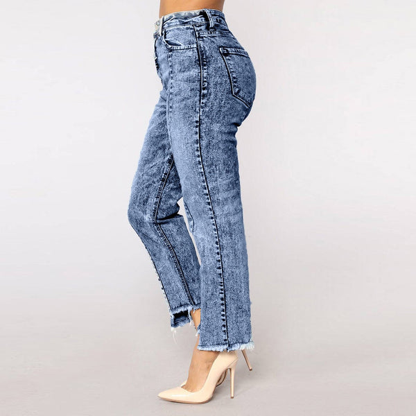 Fashion ripped jeans for women Skinny Jeans Denim Female casual band high waist jeans Stretch Slim Sexy Pants plus size clothes