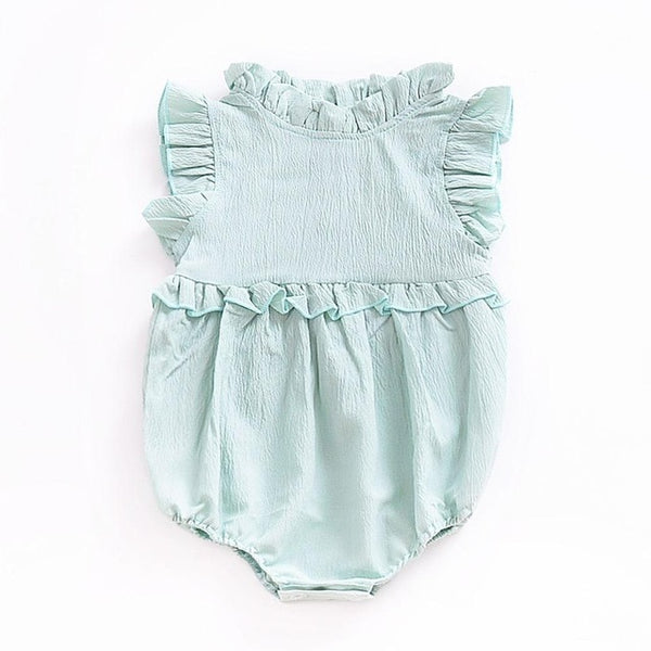 Baby Girl Dress Newborn Baby Clothes Cute Draped Neck Infant Girls Dress Puff Sleeve Baby Girl Clothes Summer
