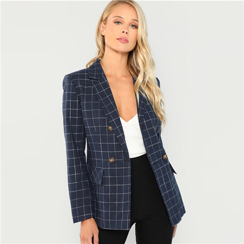 Navy Women Blazers And Jackets Double Breasted Notched Neck Plaid