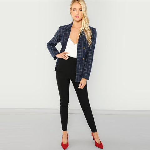 Navy Women Blazers And Jackets Double Breasted Notched Neck Plaid Blazer Ladies Long Sleeve Outerwear 2018 Autumn Coat