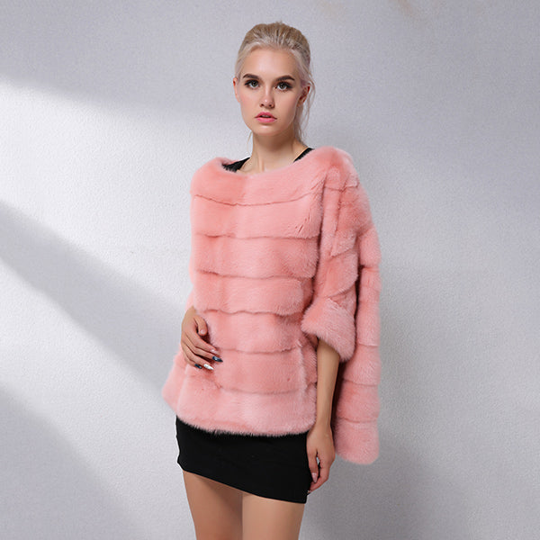Casual Natural Real Mink Fur Coat Women Winter Mink Fur Short Cloak Free Size O-Neck Mink Fur Jacket Women Real Fur Coat