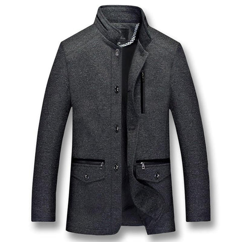 Men's Autumn winter Stand collar wool coats Men jacket Black cotton woolen coat Mens jackets Plus XL-5XL trench coats men