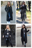 Drape Collar Grid Plaid Longline Coat Ladies Turn-down Collar Long Sleeve Casual Outer Women Elegant Autumn Coat