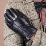 Genuine Leather Gloves For Mens Autumn Brand Black Touch Screen Sheepskin Gloves Slim Wrist Driving Gloves Mittens