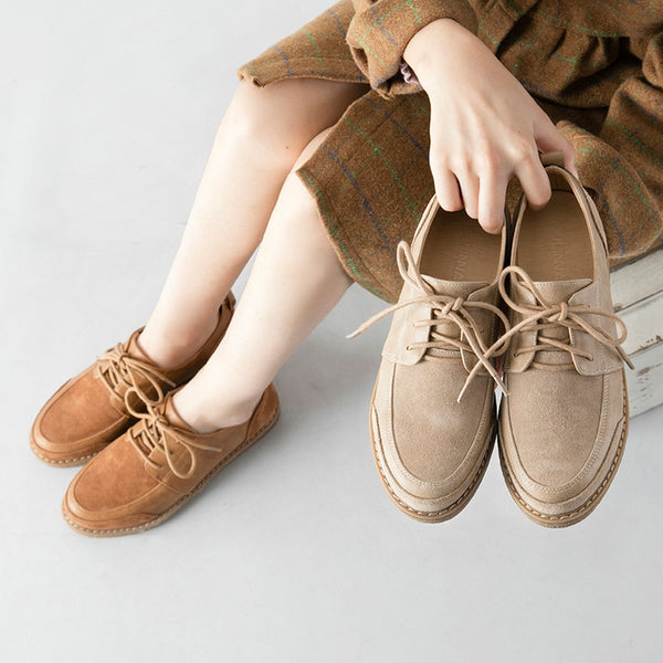 Spring Retro Solid Oxford Shoes for Women Round Toe Lace Up Oxfords Flats Shoes Woman Fashion Shallow Shoes Woman