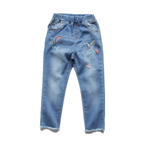 New Baby Girl Clothes Girl Pants Jeans Baby Pants Boot Cut Lace Girls Clothes Kids Fashion Embroidery Rainbow