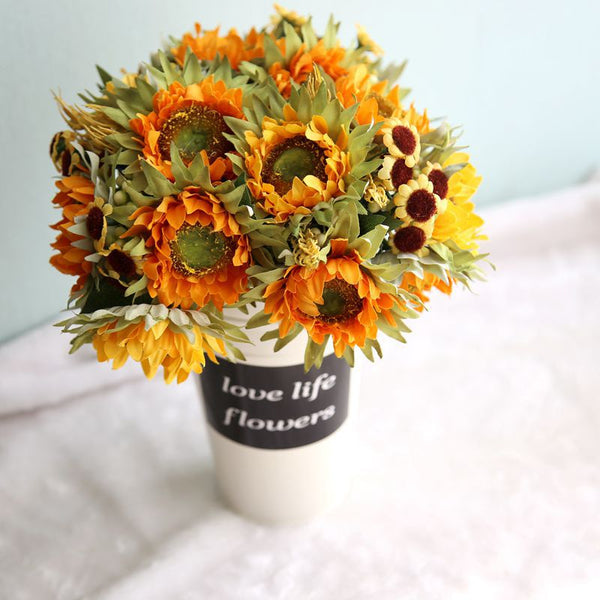 Autumn Decoration 5 Heads Yellow Sunflower Silk Artificial Flowers Bouquet For Home Decoration Office Party Garden Decor
