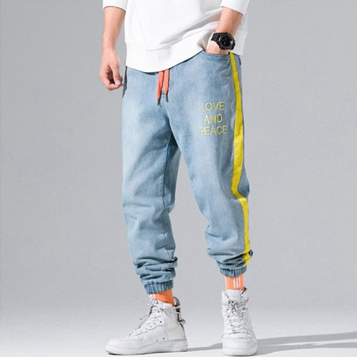 823cbb51 ... Autumn Winter Fashion Men Jeans Yellow Stripe Spliced Cargo Pants  Letter Print Streetwear Hip Hop Tapered ...