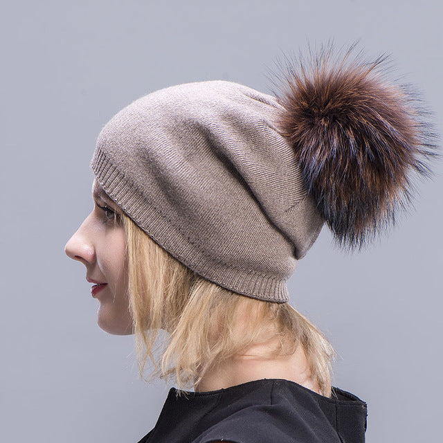 Cashmere Hats For Women Pompom Beanies Fur Hat Female Warm Caps With Real Raccoon Fur Pompom Bobble  Hat Adult