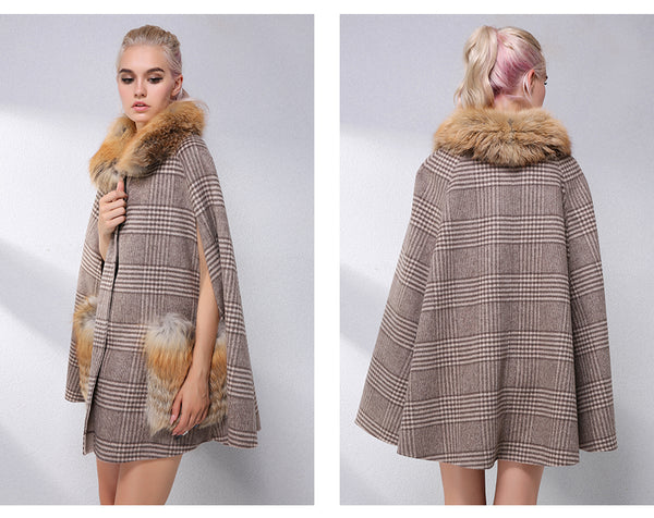 Elegant Cashmere Cloak With Natural Real Fox Fur Collar 90% Wool Blends Coat Women Clothes Real Fur Coat Leather Jacket