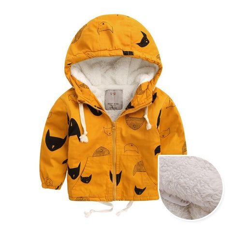 Winter Fleece Jackets For Boy Trench Children's Clothing 2-10Y Hooded Warm Outerwear Windbreaker Baby Kids Coats JH019