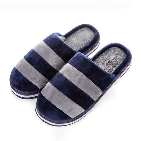 f87ff9fcff8 Soft Bottom Flock Home Slippers Couples Warm Cotton Indoor Shoes Men Slipper  Comfortable Striped Women Slippers