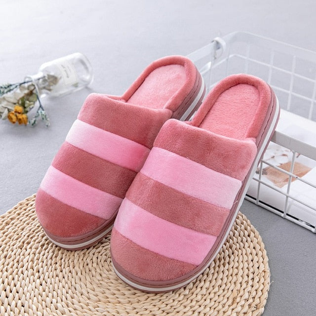 f33686e3d9c JOHNKART.COM.  24.65 USD. Soft Bottom Flock Home Slippers Couples Warm  Cotton Indoor Shoes Men Slipper Comfortable Striped Women ...
