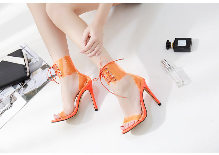 fda449b0c17 Jelly Lace-Up Sandals Open Toed High Heels Sexy Women Transparent Heel  Sandals Party Pumps 11CM Sales Promotion