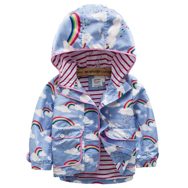 Girls Coats And Jackets Spring Autumn Winter Velvet Coat For Girls Flower Child Outerwear Windbreaker Hooded Kids Clothes
