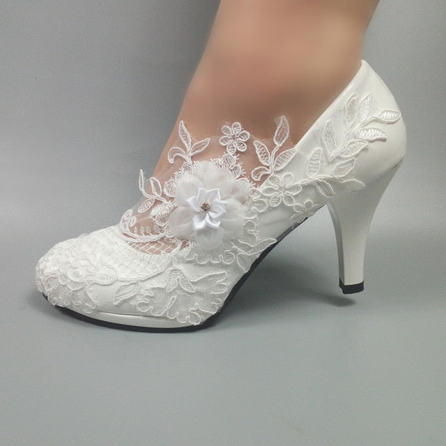 White Flower Pumps New Arrival Womens Wedding Shoes Bride High