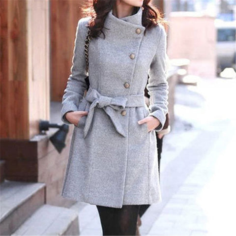 Clothing Fashion Slim Streetwear Casual Belt Coat Windbreaker Elegant Women Toyouth Long Wool  Coat