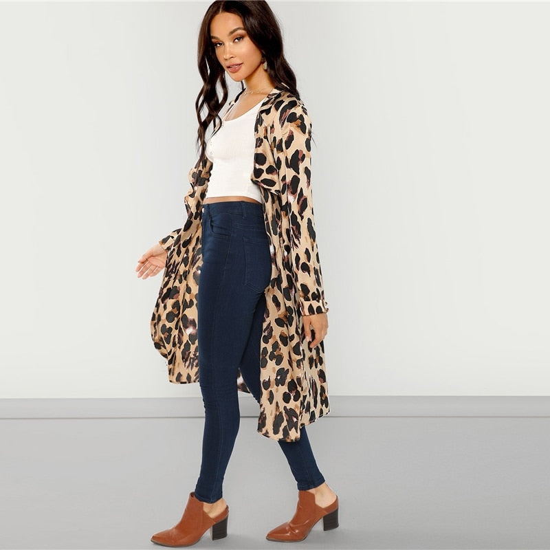 ee2a77609b ... Apricot Workwear Elegant Open Front Shawl Collar Leopard Print Fashion  Coat Autumn High Street Women Coats ...