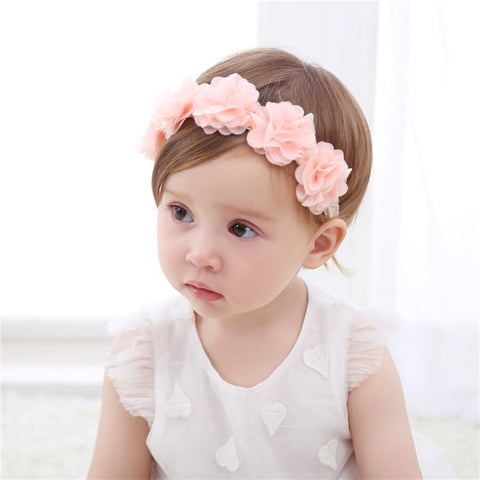 1pce New Baby Flower Headband Pink or White Ribbon Hair Bands Handmade DIY Headwear Hair accessories for Children NewbornToddler
