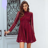 Lace water soluble sexy dress Elegant long sleeve hollow out women dress Autumn winter party dress robe femme