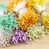 New Year Decorations 100pcs/lot Mini Pearl Flower Stamen Floral Stamen For DIY Cake Wedding Decoration Artificial Flowers